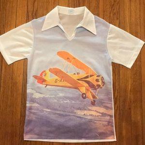 RARE Vintage JC Penney graphic bi-plane shirt